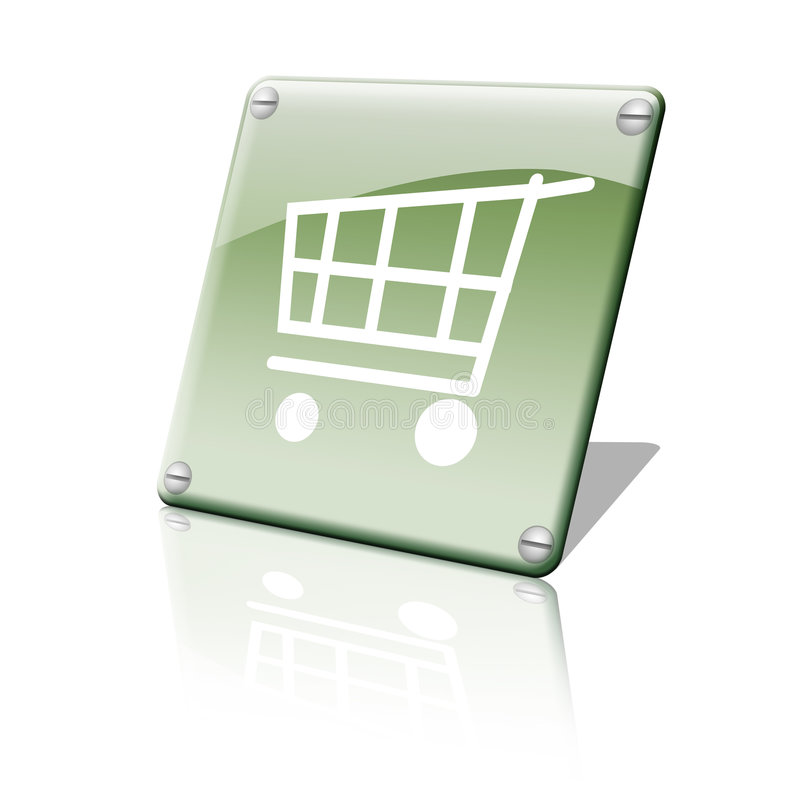 Shopping chart icon. A green shinny shopping chart icon stock illustration