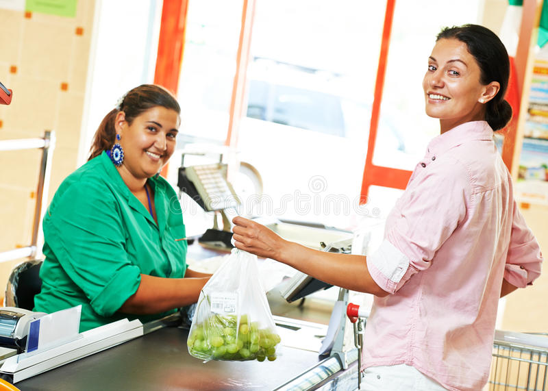Shopping. Check out in supermarket store stock images