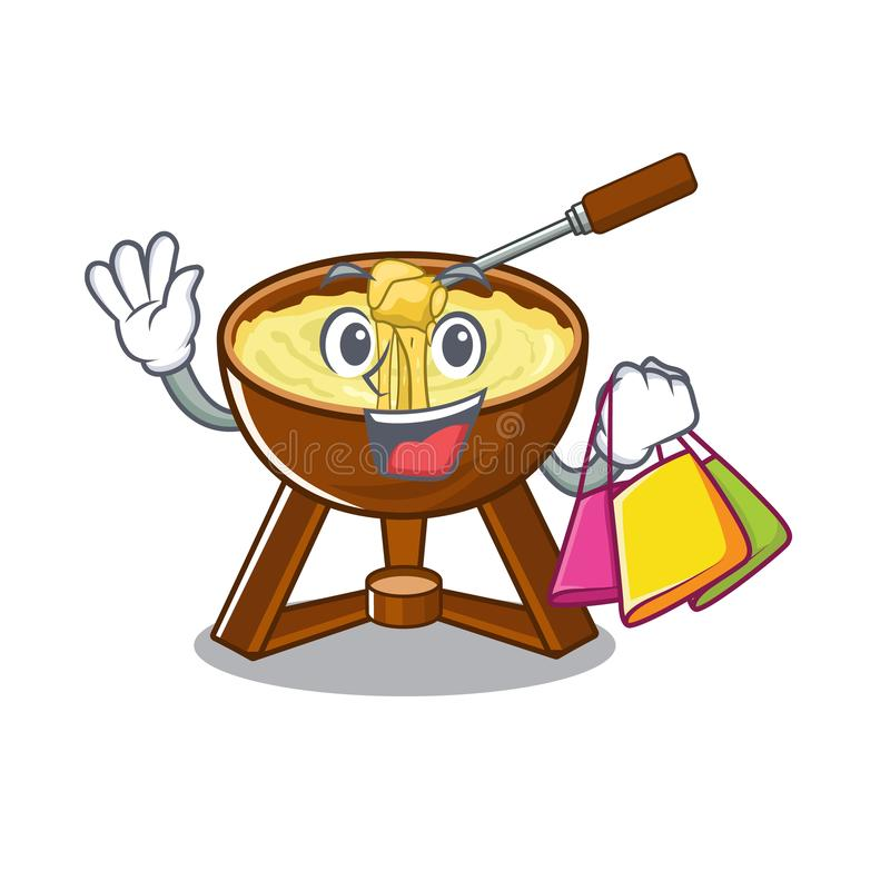 Shopping cheese fondue with in mascot shape. Vector illustration stock illustration