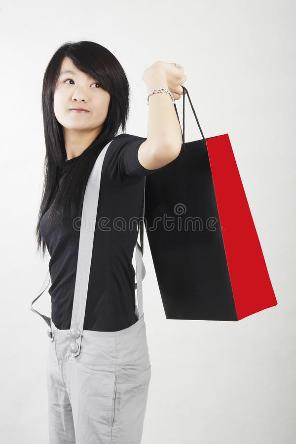 Shopping in a Chinese girl royalty free stock image