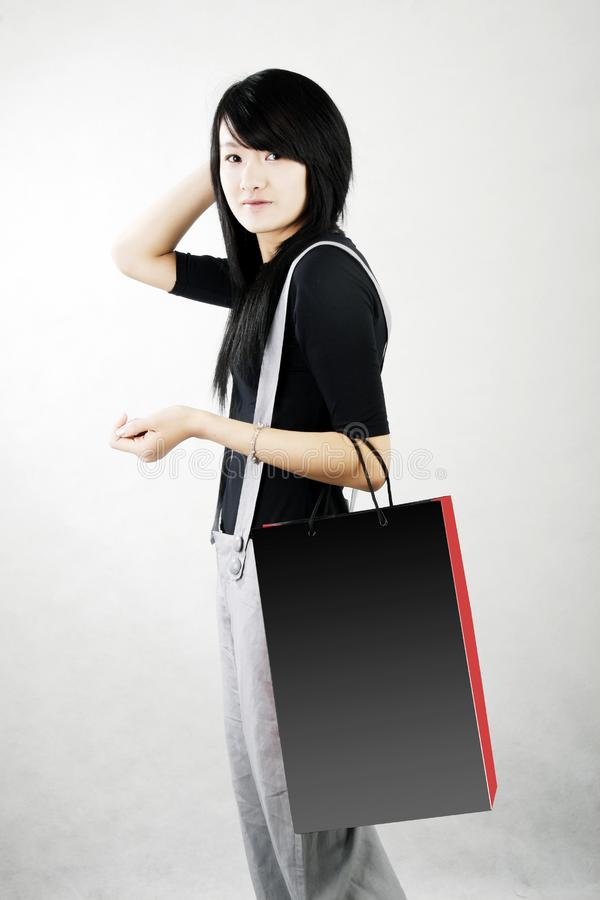 Shopping in a Chinese girl royalty free stock photo