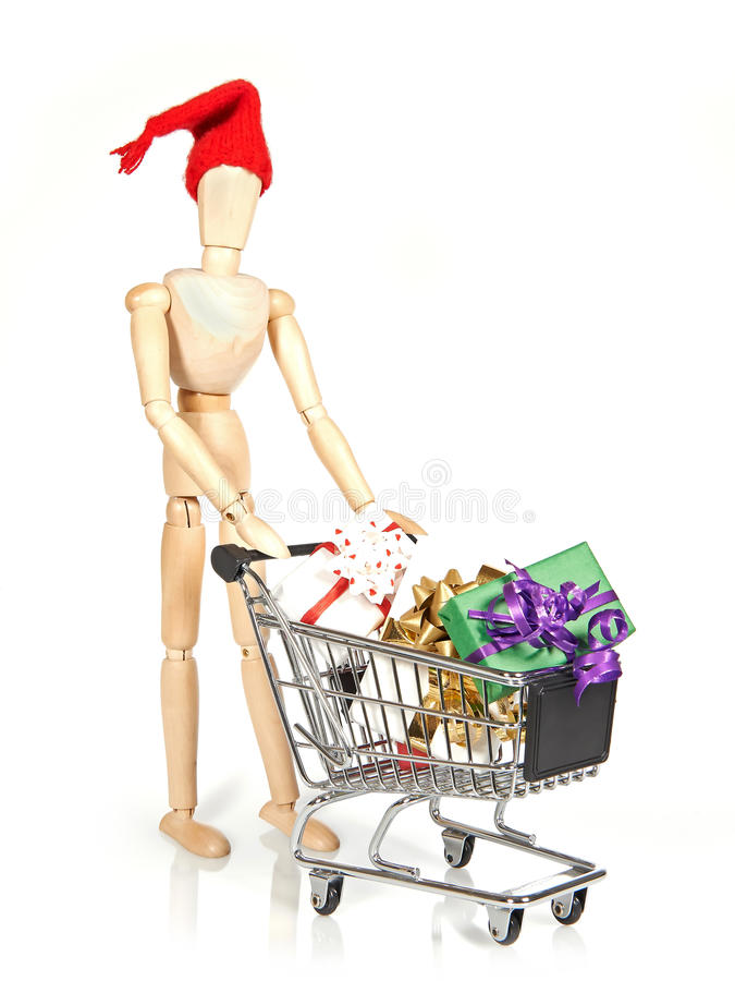 Shopping christmas gifts stock images