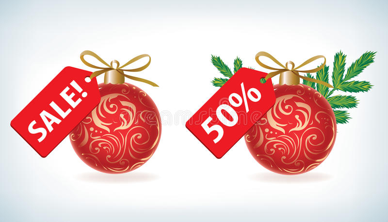 Shopping Christmas and New Year's label royalty free illustration