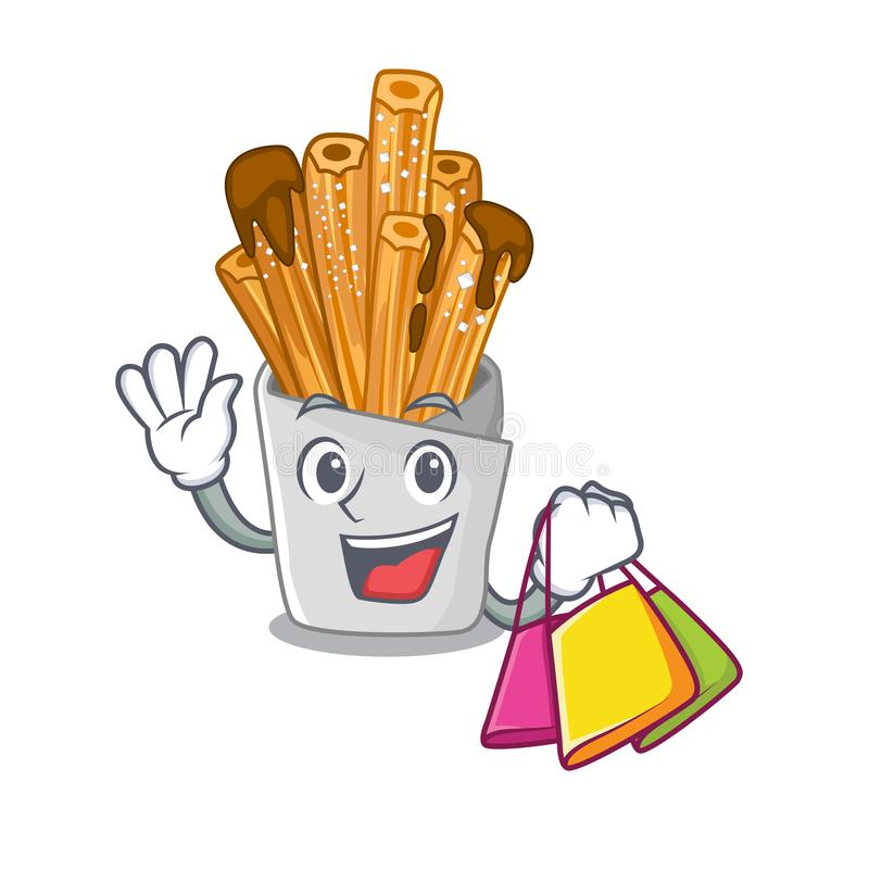 Shopping churros isolated with in the cartoon. Vector illustration royalty free illustration