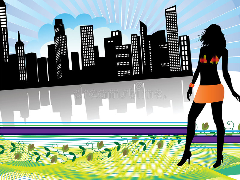Download Shopping in the city stock vector. Image of female, models - 7539566