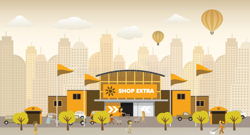 Download Shopping In The City (retro Colors) Royalty Free Stock Images - Image: 33767869