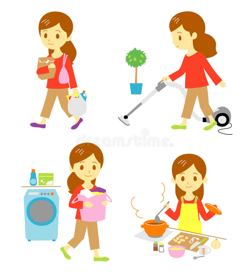 Shopping, cleaning, washing, cooking. Woman, housewife shopping and cleaning, washing, cooking. homework and housekeeping vector illustration