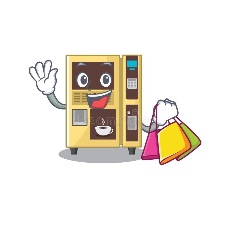Shopping coffee vending machine with cartoon shape. Illustration vector stock illustration