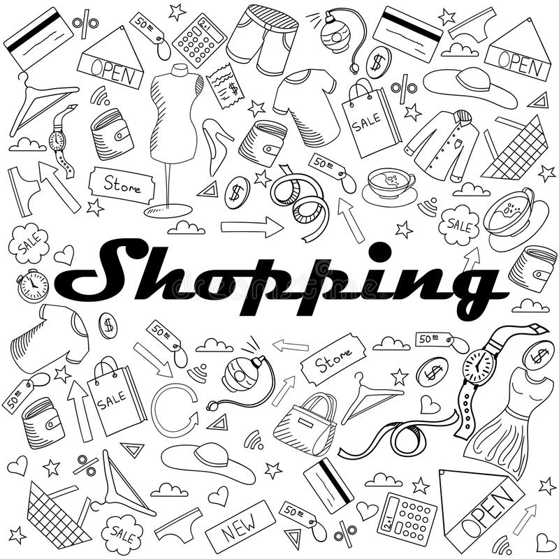 Download Shopping Coloring Book Vector Illustration Stock