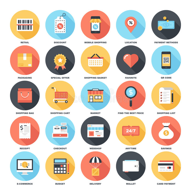 Shopping and Commerce. Abstract vector set of colorful flat shopping and commerce icons with long shadow. Creative concepts and design elements for mobile and