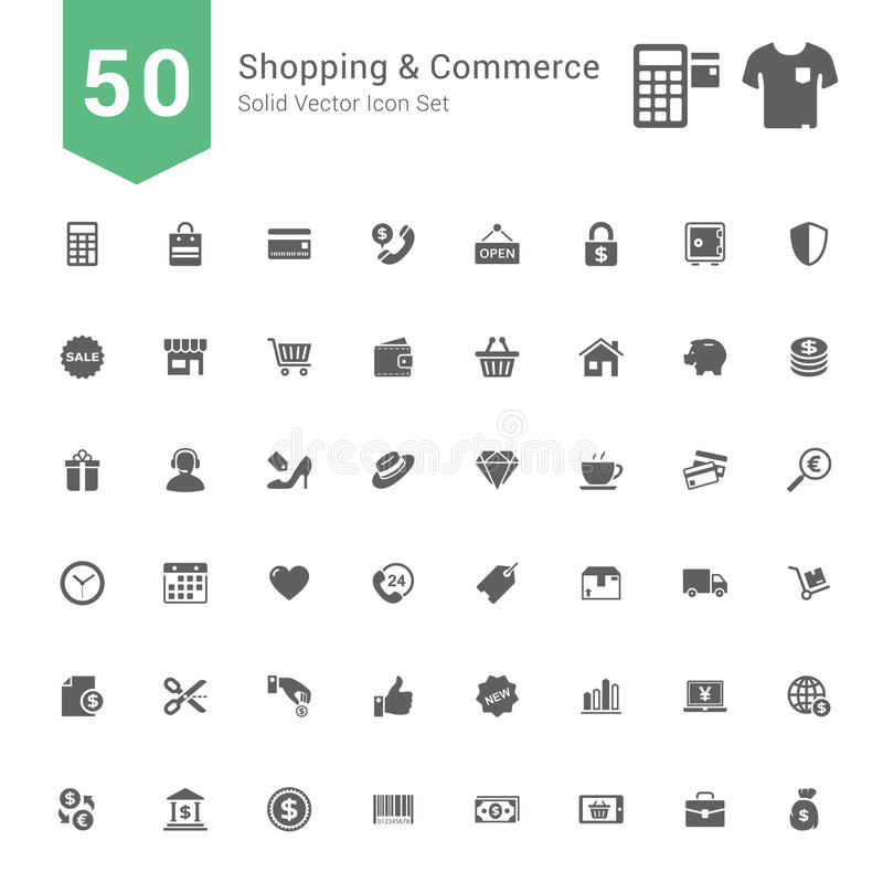Shopping and Commerce Icon Set. 50 Solid Vector Icons. vector illustration