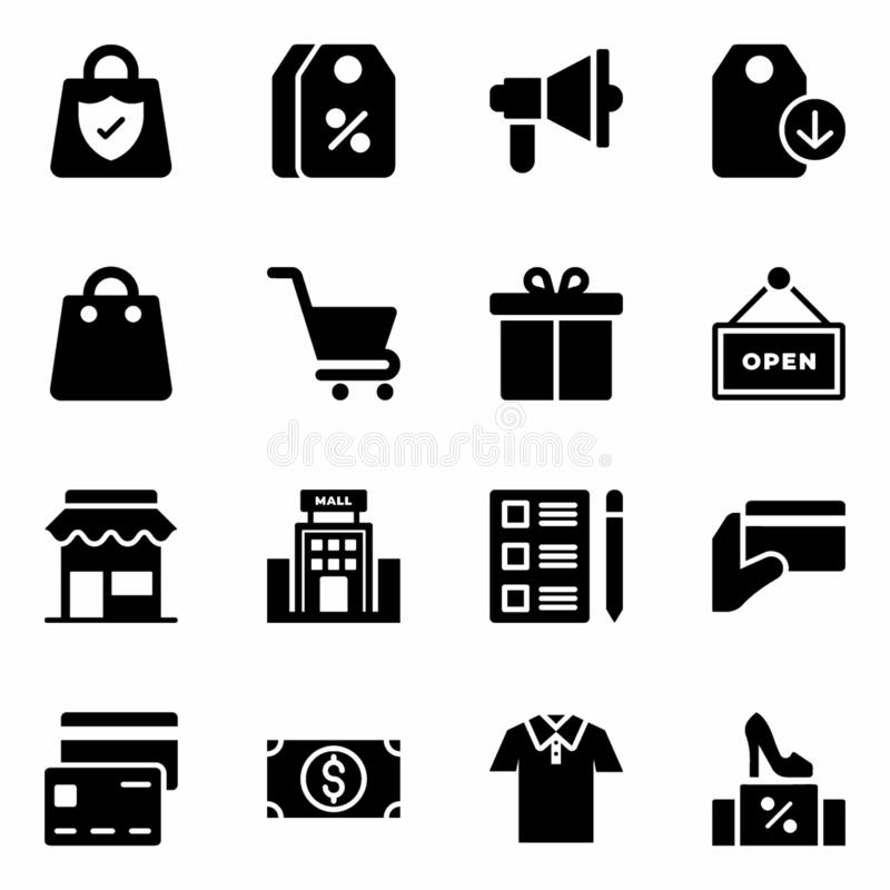 Shopping and Commerce Icons. Here is a pack of shopping and commerce icons in glyph design. Download this editable set to fit in your needs royalty free illustration