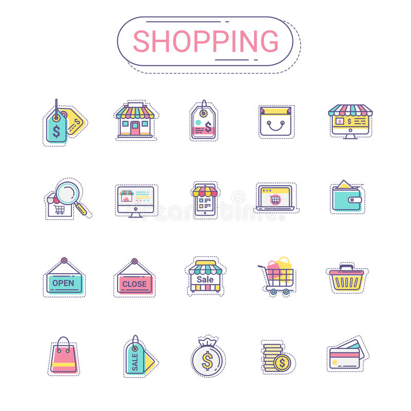 Shopping and commerce icons set. Flat line icon style colorful and relax color create by modern design. stock illustration