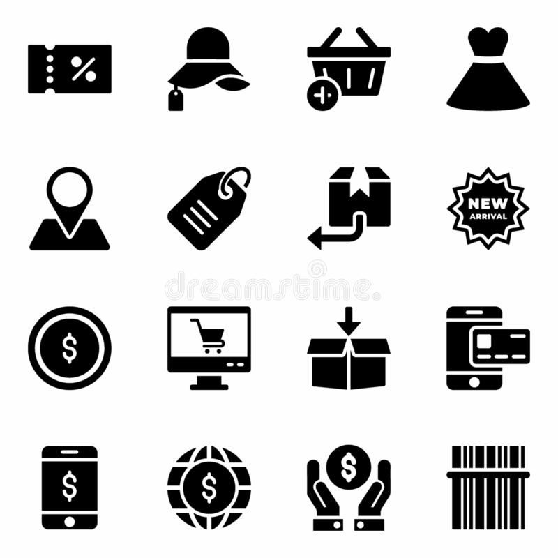 Shopping and Commerce Vectors. Here is a pack of shopping and commerce vectors in glyph design. Download this editable set to fit in your needs stock illustration