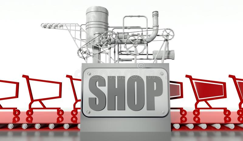 Shopping concept, carts and machine royalty free illustration