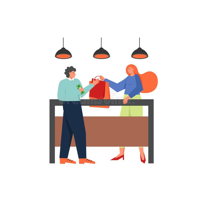 Shopping concept vector flat style design illustration. Lady buying clothes in fashion boutique women apparel store, vector flat illustration isolated on white vector illustration