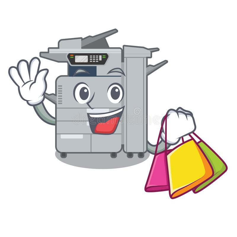 Shopping copier machine isolated in the cartoon. Vector illustration stock illustration