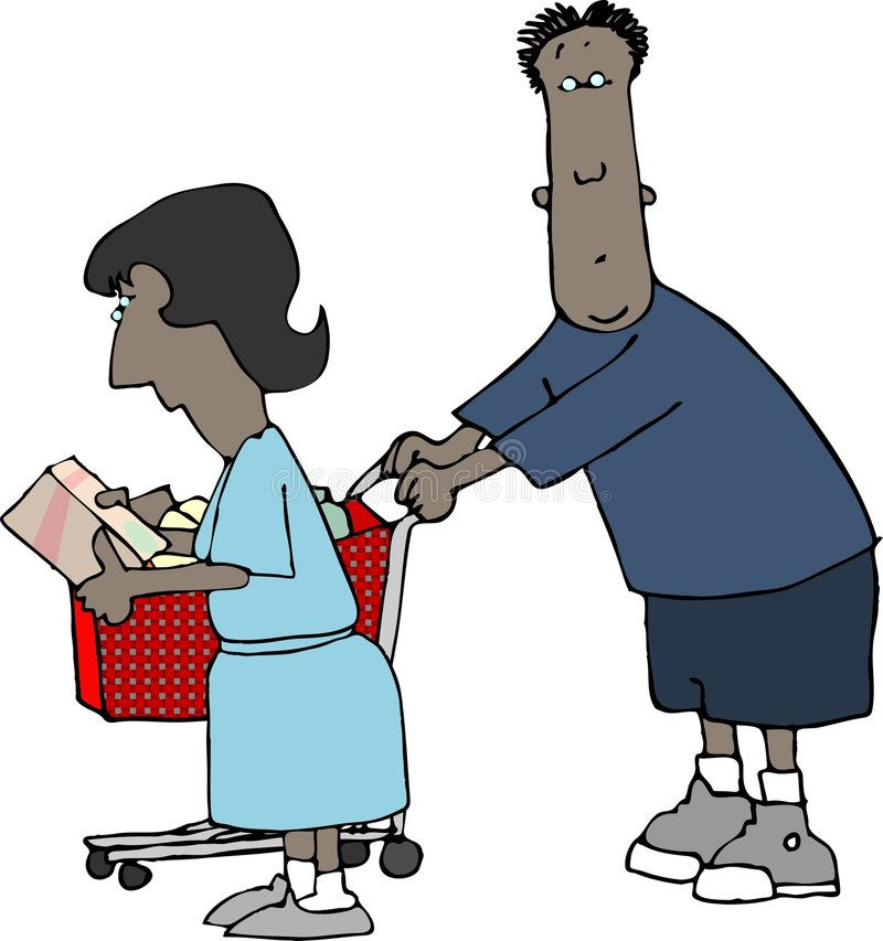 Download Shopping Couple stock illustration. Image of comic, lady - 323239