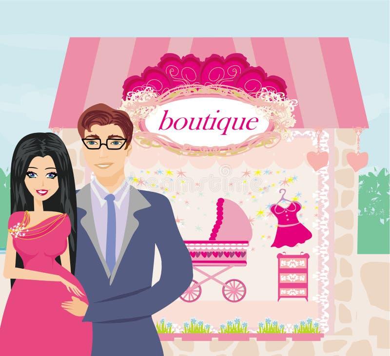 Shopping couple awaiting baby stock illustration