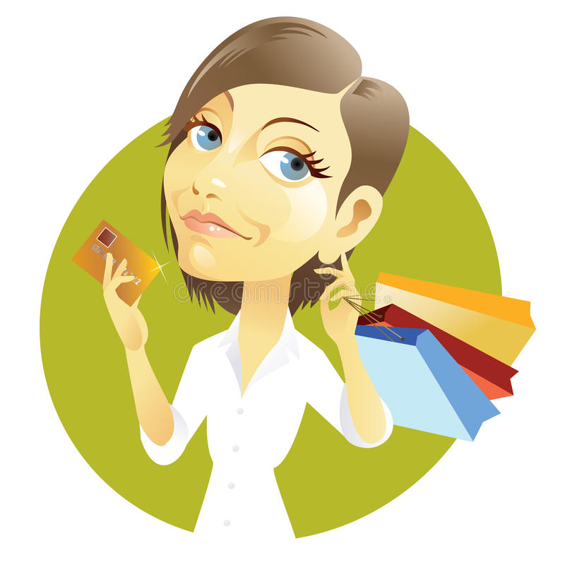 Shopping with credit card stock illustration