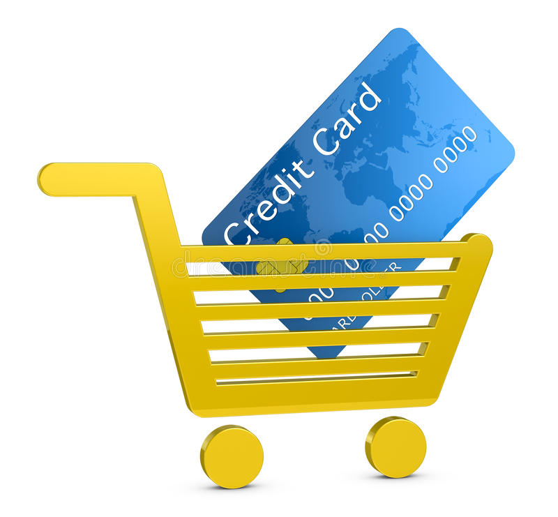 Download Shopping With A Credit Card Stock Illustration - Illustration of finance, consumer: 21060916