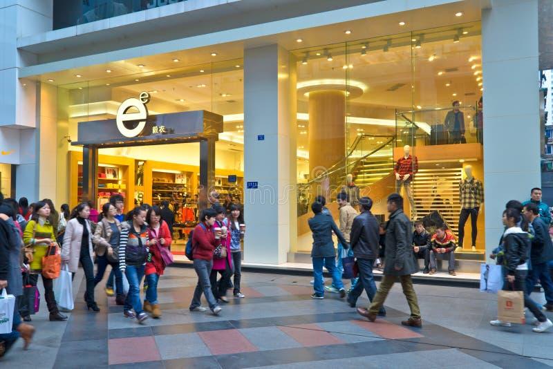 Shopping crowd. In the ChunXi shopping plaza.Photo is taken on 11 Dec 2011 stock photo