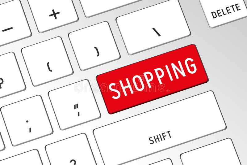 Shopping - 3D computer keyboard stock images