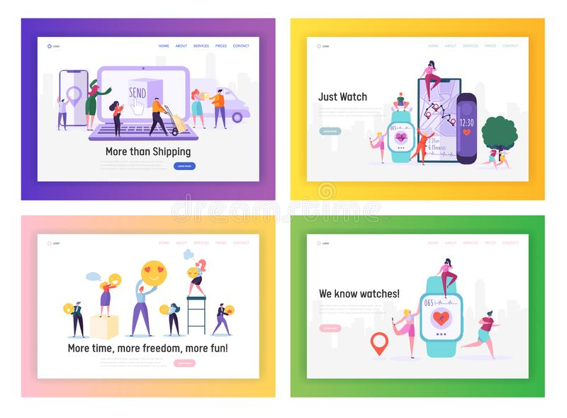Shopping, Delivery, Healthcare and Social Media Applications Website Landing Page Templates Set, People Using Apps in Life. Shipping, Smart Watch Web Page stock illustration
