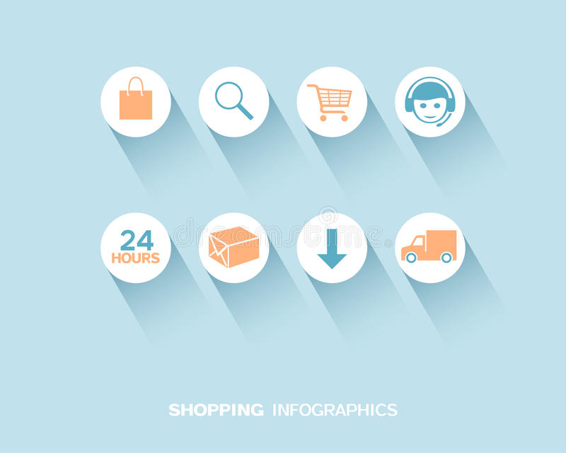 Shopping and delivery infographic with flat icons set vector illustration