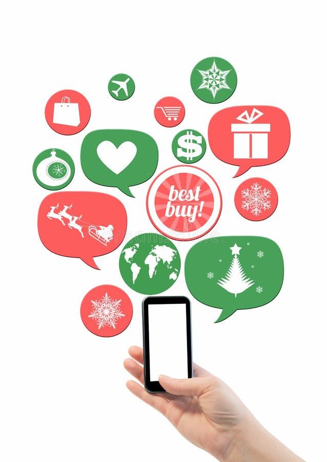 Shopping di festa di inverno o modello online di affari del negozio illustrazione di stock