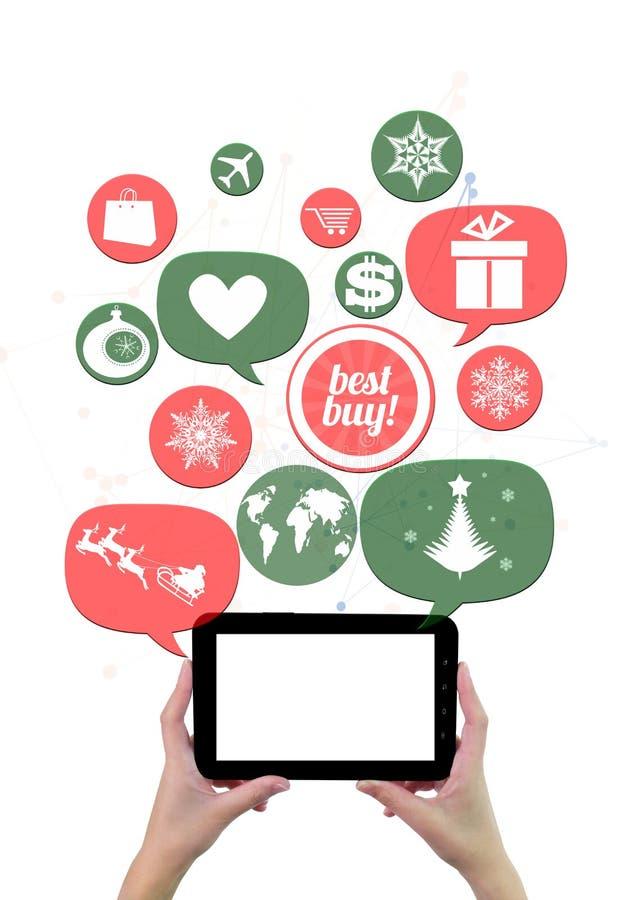 Shopping di festa di inverno o modello online di affari del negozio. royalty illustrazione gratis