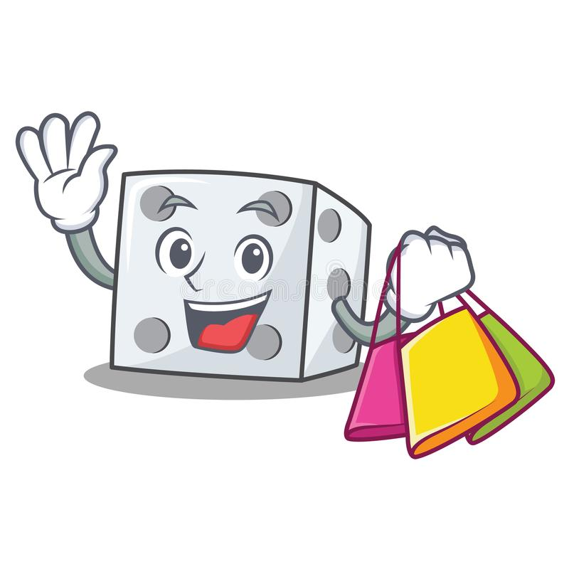 Shopping dice character cartoon style stock illustration