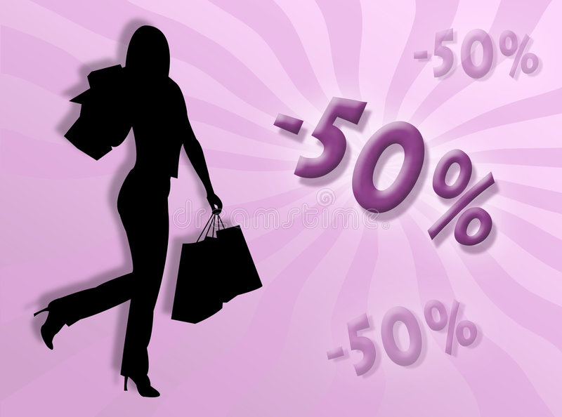 Shopping and discount stock illustration