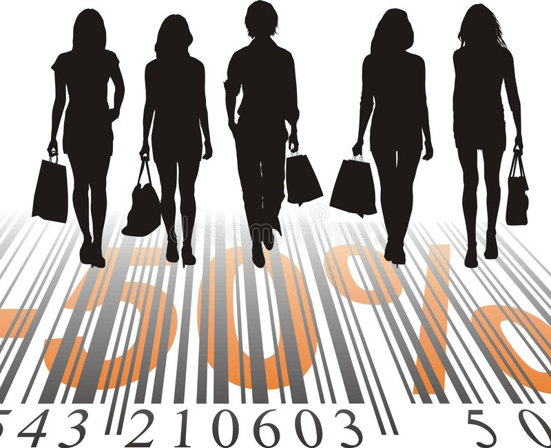 Shopping Discount, fifty percent. Young women purchased at a discount, vector illustration stock illustration