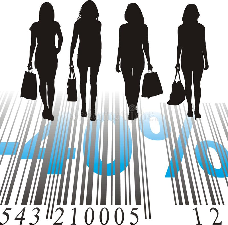 Shopping Discount, forty percent. Young women purchased at a discount stock illustration