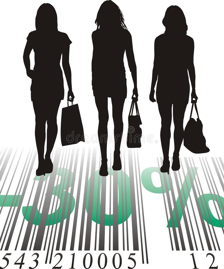 Shopping Discount, thirty percent. Young women purchased at a discount, vector illustration vector illustration