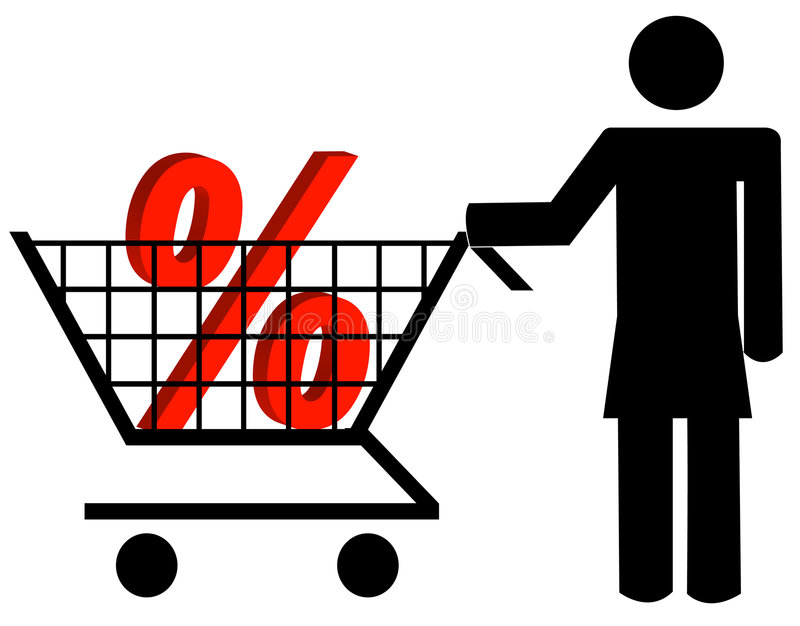 Download Shopping for discounts stock vector. Image of buyer, percent - 5914179
