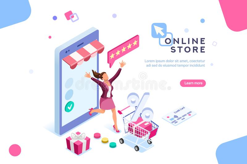 Shopping and Discounts concept Character Commercial pay. E-shop, shopping concept with characters. Commercial checkout pay, ecommerce retail on device for stock illustration