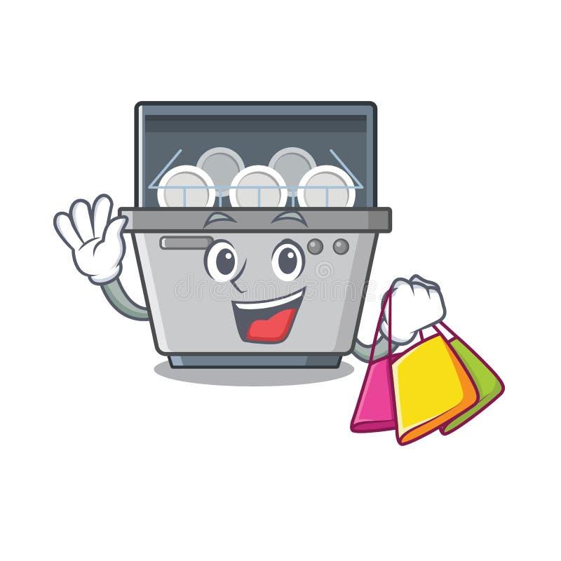 Shopping dishwasher machine isolated in the cartoon. Vector illustration stock illustration