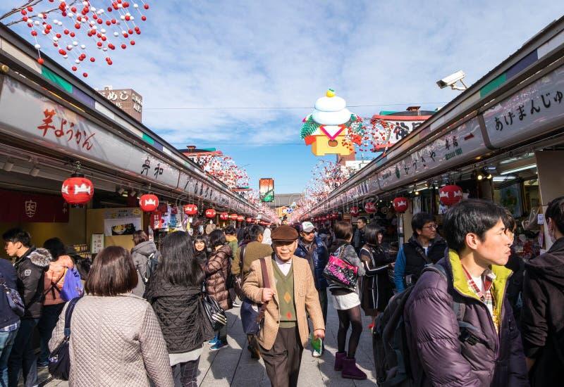 Shopping district inside of Asakusa royalty free stock image