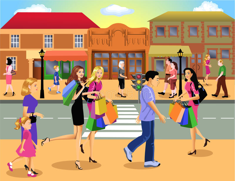 Shopping Downtown Stock Image