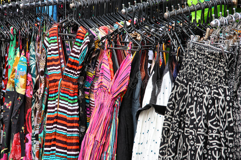 Shopping for dresses stock photo. Image of marketplace ...