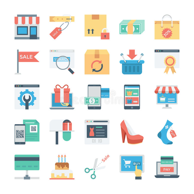 Shopping and E Commerce Colored Vector Icons 7 royalty free illustration