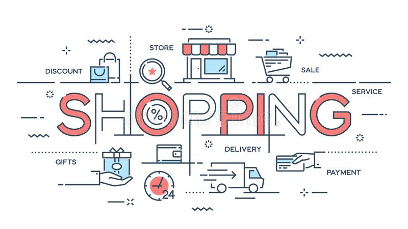 Shopping, e-commerce, retail, sale, delivery service thin line c stock illustration