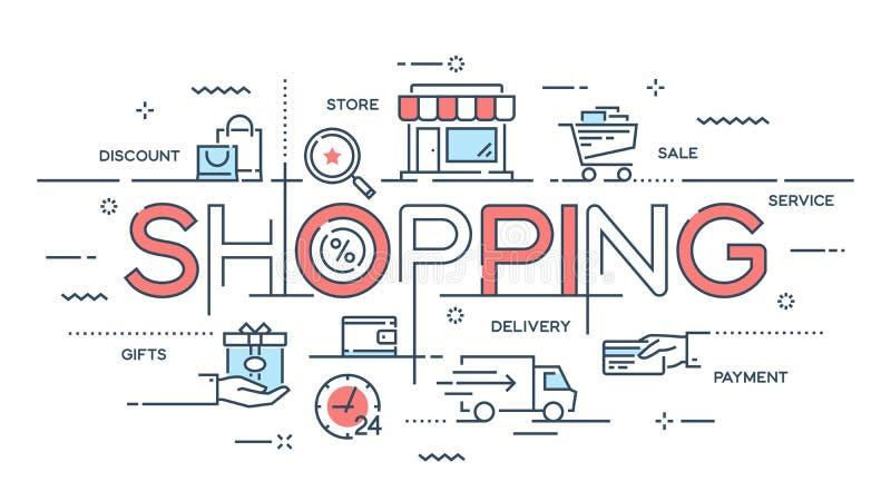Shopping e-kommers, detaljhandel, försäljning, tunn linje c för hemsändning stock illustrationer