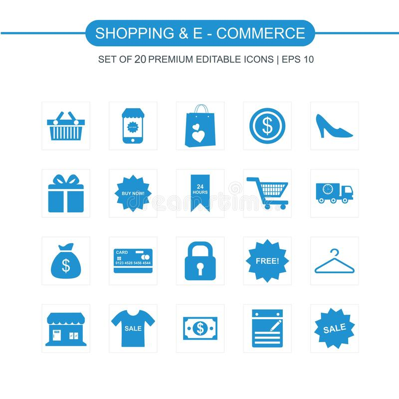 Shopping and Ecommerce icons set blue. For web design and application interface, also useful for infographics. Vector illustration royalty free illustration