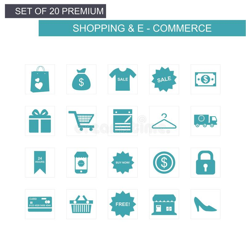 Shopping and Ecommerce icons set blue. For web design and application interface, also useful for infographics. Vector illustration vector illustration