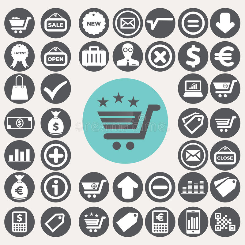 Shopping and eCommerce icons set. Illustration eps10 stock illustration