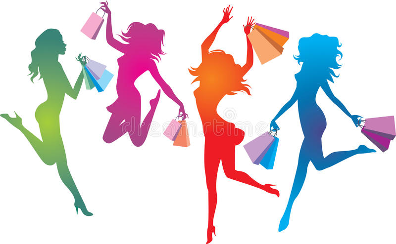 Shopping euphoria. Colourful and dynamic female silhouettes with shopping bags vector illustration