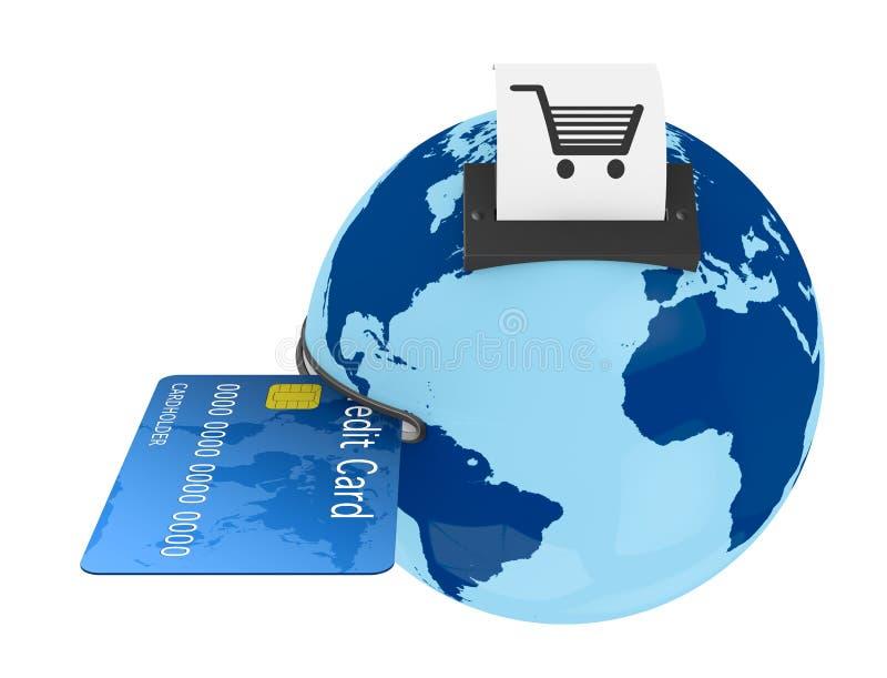 Download Shopping everywhere stock illustration. Illustration of globe - 24824371
